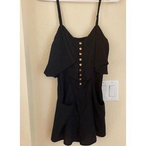 Black romper with front pockets